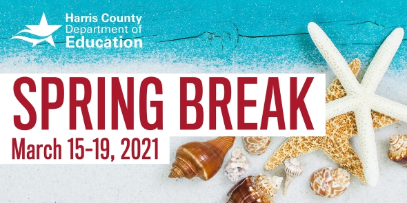 Image of a beach with Spring Break written overtop.